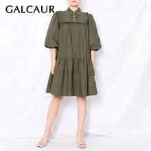 Женское платье с отложным воротником galcaur свободное мини