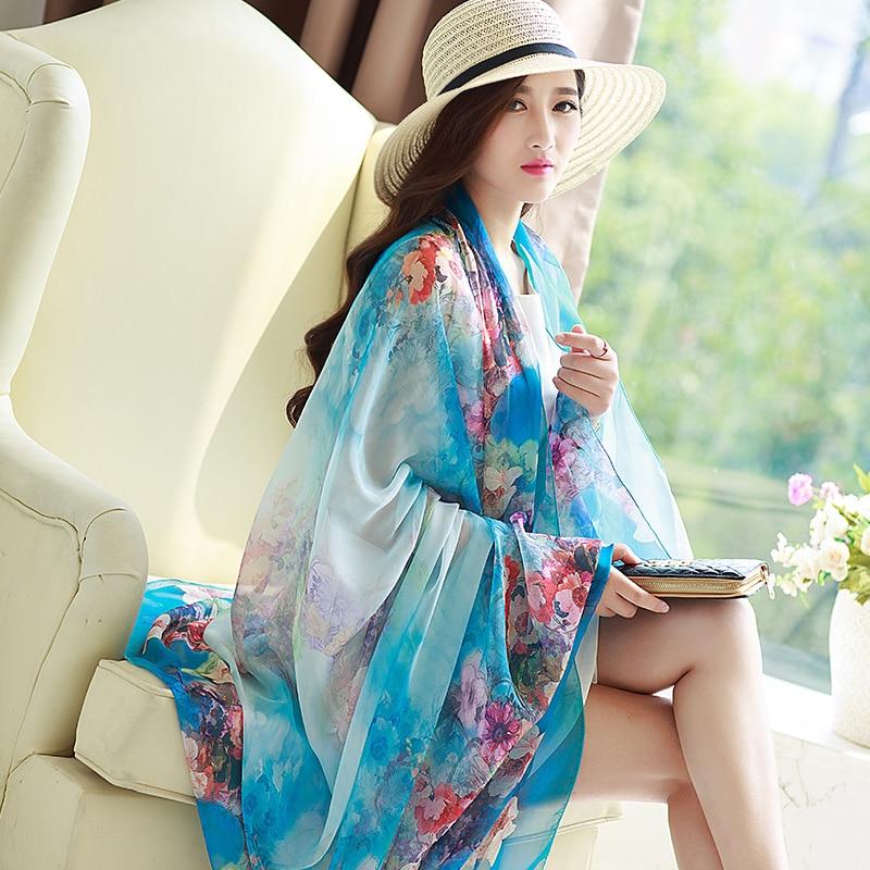 196*146cm mais tamanho marca de verão cachecóis chiffon wearable praia multifunções xale para impressão feminina cachecol relogio feminino