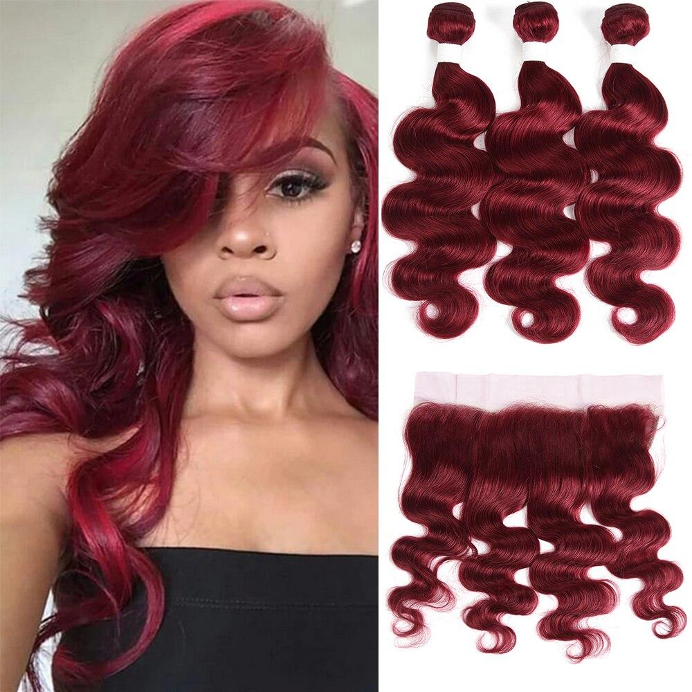 Borgonha onda do corpo pacotes com frontal 99j pacotes de cabelo humano vermelho brasileiro remy 3 pacotes com fechamento do laço frontal euforia