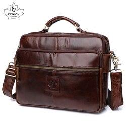 Herren Schulter Tasche Leder Laptop Tasche Büro Taschen Für Männer Echtes Leder Taschen Aktentasche Luxus Schulter Handtasche Männlichen ZZNICK