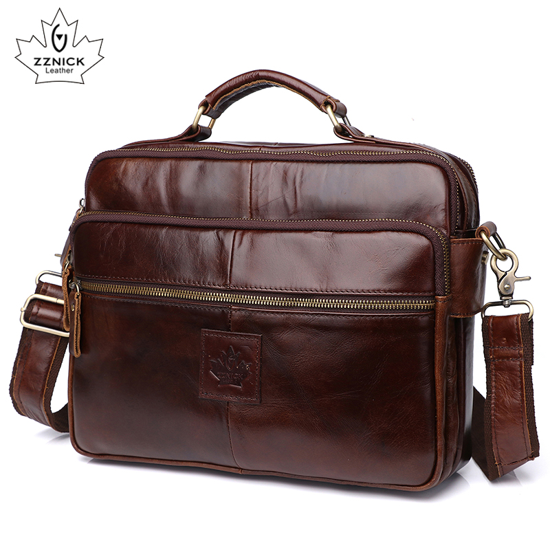 Men's Shoulder Bag Leather Laptop Bag Office Bags For Men Genuine Leather Bags Briefcase Luxury Shoulder Handbag Male ZZNICK