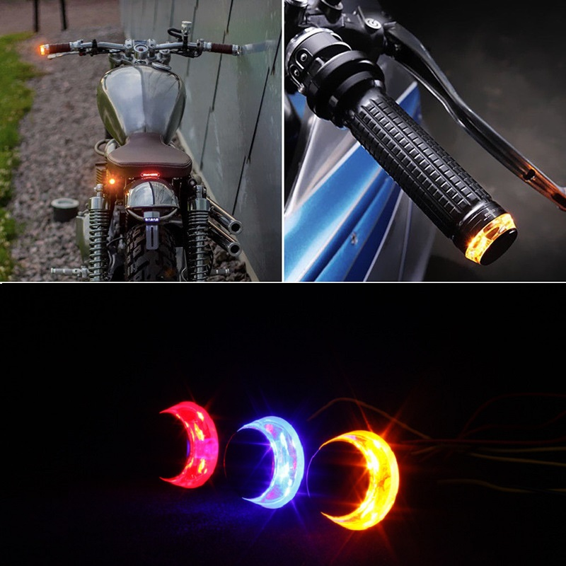 2pcs DC 12V Motorcycle LED Handlebar End Turn Signal Light White Yellow Flasher Handle Grip Bar Blinker Side Marker Lamp 2