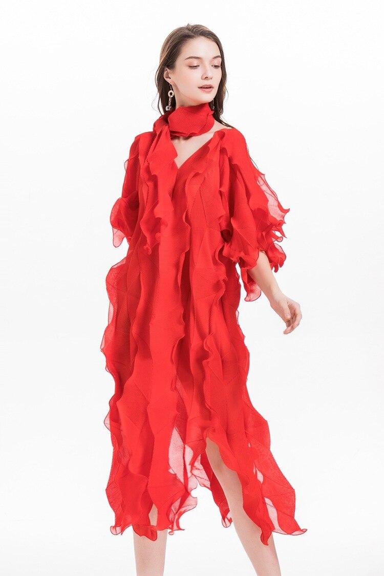 Foulard diamant robe original haut de gamme plissé grande taille robe pour femme MIYAKE plis robes livraison gratuite