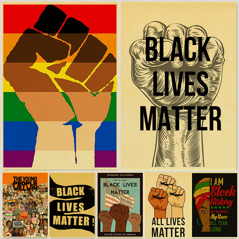 Black Lives Matter Poster Kraft Paper Prints and Posters Wall Art Home Room Decor Vintage Painting Wall Stickers