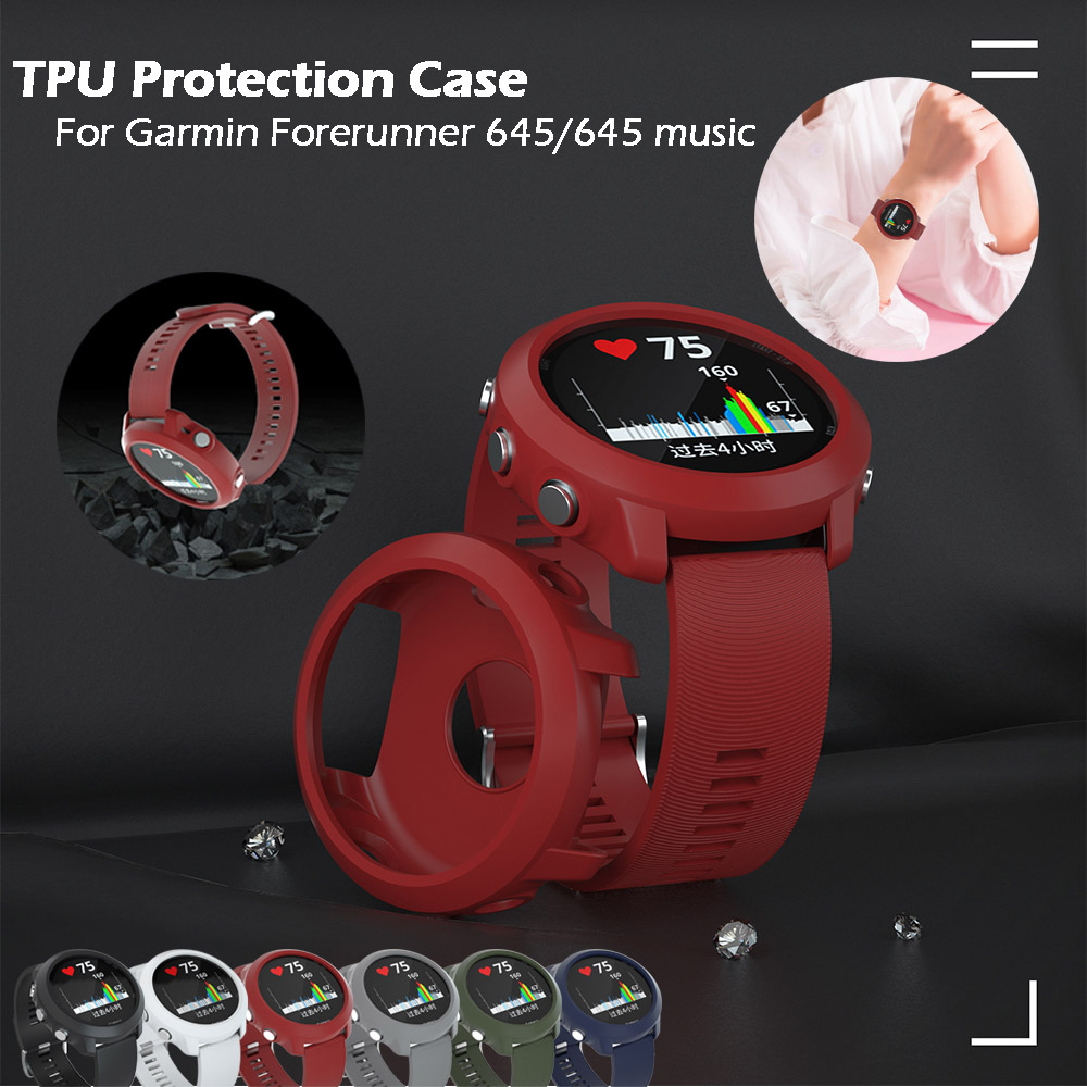 TPU Protector <font><b>Case</b></font> Cover for <font><b>Garmin</b></font> <font><b>Forerunner</b></font> <font><b>645</b></font> <font><b>645</b></font> Music Bracelet Protective Shell Frame Replacement Protection <font><b>Cases</b></font> image