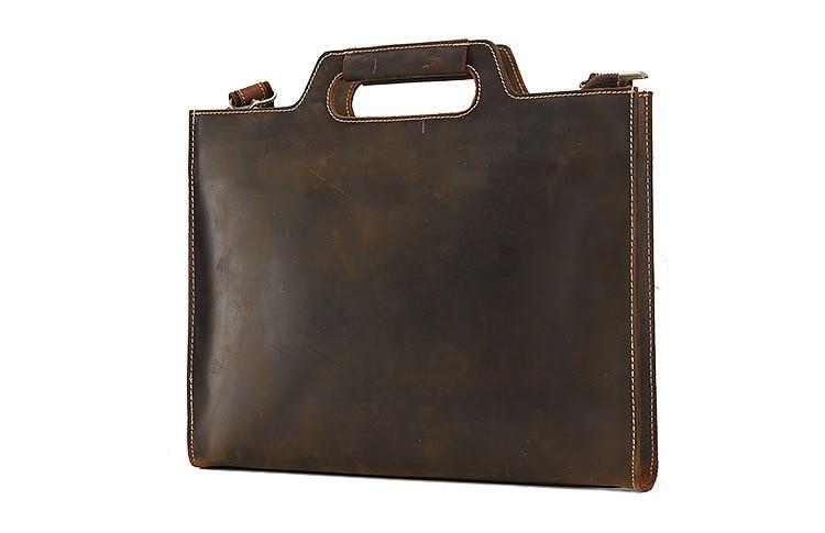 Genuine Leather Men Solid Cow Skin Briefcase Business Handbag
