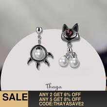 Thaya 925 Sterling Silver Earring Cute Black Cat & Paw Stud Earring Japanese Style For Women Silver Ear Fashion Fine Jewelry(China)