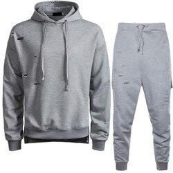 Mode Herren Hoodie Sweatshirt Trainingsanzug Casual Pullover Volle Länge Jogginghose Track Anzug Männlichen Loch Zerrissene Zwei Stück Set Outfit