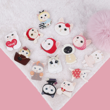 Cute Cartoon Cat Acrylic Brooches Badge for Women Girl Kids Cartoon Brooch Accessories Cute Pin Badges Clothes Decorative Button