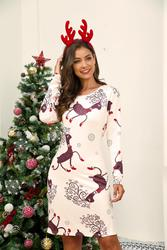 Winter Christmas Dresses Women Print Cartoon Dress Long Sleeve Casual Plus Size Midi Party Dresses Vestidos Robe 5