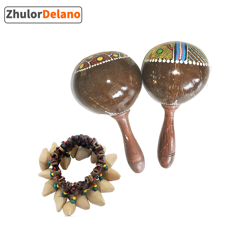 African Tambourine Accompaniment , Decorative Nutshell Bracelet & Coconut Shell Sand Hammer / Coconut Sand Ball