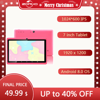 ZONKO 7 inch Tablet Android 8.1 Portable Tablet PC GPS Quad Core 1024*600 IPS Dual Cameras WiFi 1GB RAM 8GB ROM Study Tablets image