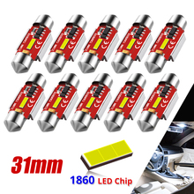 10pcs Festoon 31mm C5W C10W LED Bulbs CANBUS 1860 SMD White Lamp For Car Auto Interior External Dome Trunk License Plate Lights