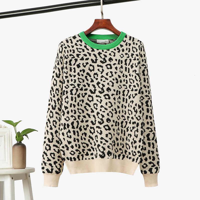 2020 Koreaanse Jumper Herfst Winter Gebreide Trui Vrouwen Oversized Truien Vrouwelijke Luipaard Jacquard Fashion Wol Blends Trui