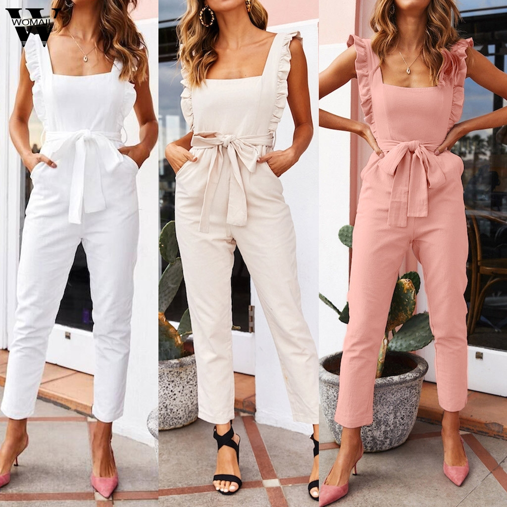 Women Jumpsuit Ruffled Sleeveless Jumpsuit Summer Ladies Off Shoulder Playsuit Bohe Off Shoulde Jumpsuit Casual Romper Holiday