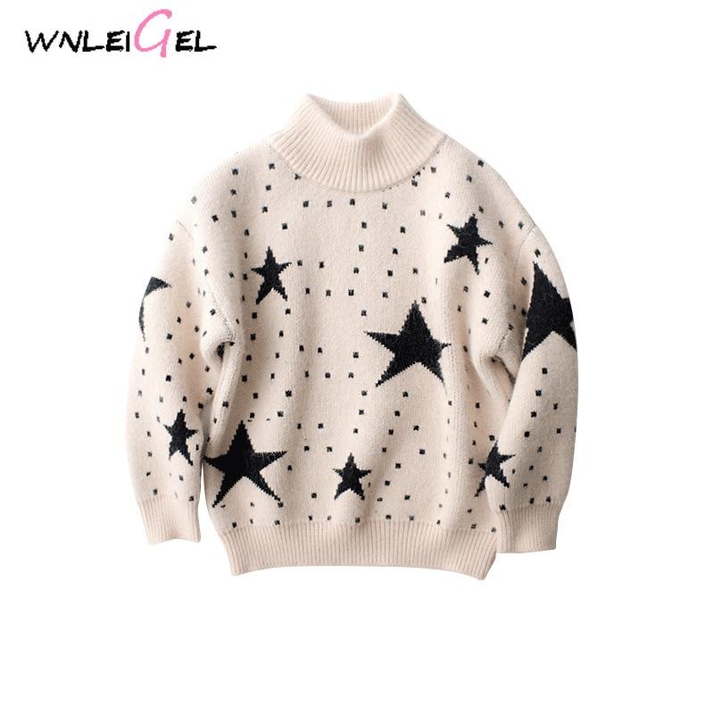 WLG/осенне зимние свитера для маленьких мальчиков Детский свитер с длинными рукавами и воротником под горло и принтом со звездами теплая уни