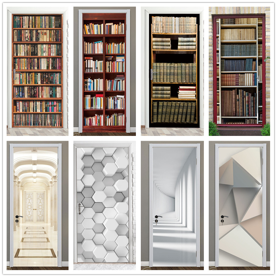 Retro Library Bookshelf Door Sticker DIY PVC Waterproof Self Adhesive Wallpaper Stickers On The Doors Home Decor Poster Decals