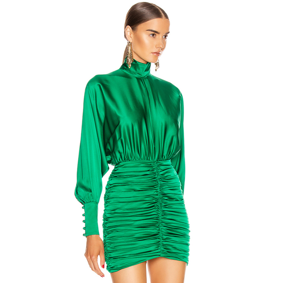 Adyce 2020 New Autumn Green Long Sleeve Celebrity Evening Runway Party Dress Women Sexy Draped Solid Bodycon Club Dress Vestidos