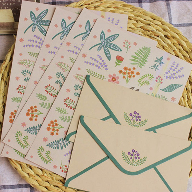 Korean Stationery Gift Envelope Finely Flower Animal Letter Paper And Envelopes Sets Writing Paper School Office Supply