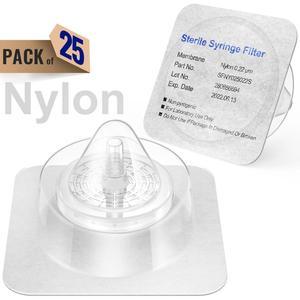 Стерильные шприц фильтры, нейлоновая мембрана 0,22 мкм размер пор, 25 мм диаметр, 25 шт индивидуально упакованы Ks-Tek