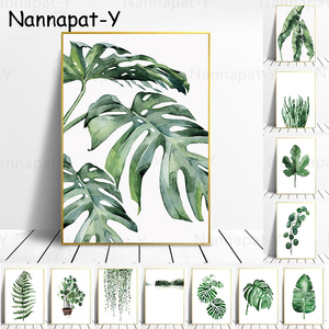 Tropical Plant Nordic Poster Home Decoration Scandinavian Green Leaves Decorative Picture Modern Wall Art Canvas Painting