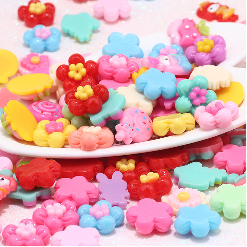 80pcs Acrylic Resin Slime Cartoon Chidren DIY Toys Beads Girl Gift Candy Sweets Flatback Dress Up Accessories HandiCrafts Toy