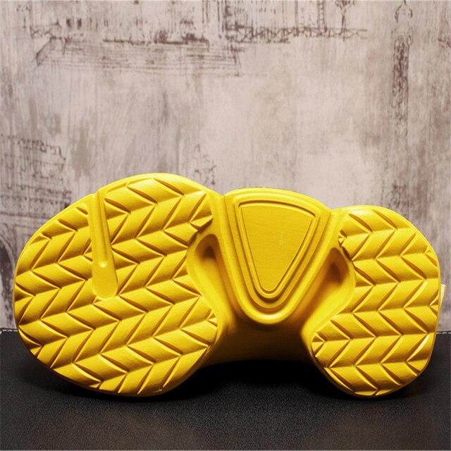 Zapatos de calcetín de punto para Hombre, Zapatillas transpirables con plataforma de malla, botines planos informales, de verano 4