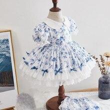 2 шт., детское винтажное платье с принтом, на возраст 12-6 лет