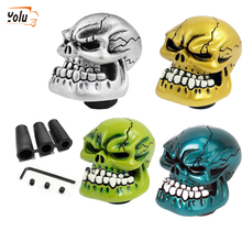 YOLU Universal Manual Gear Shift Knob Shifter Lever Wicked Carved Skull Black Green Red Silver D5 Auto Interior Decoration personalized hat skull shape resin gear shift knob silver grey