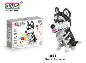 Image 2 - ZMS Mini bloques de construcción de Animal doméstico, juguete para regalo, 3D Animal, Micro Diamante, Mickey Husky, perro