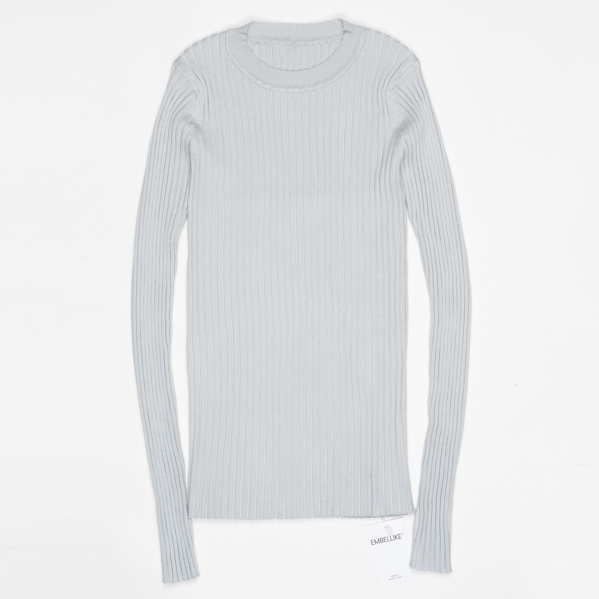 Women Sweater Pullover Basic Ribbed Sweaters Cotton Tops Knitted Solid Crew Neck With Thumb Hole 17