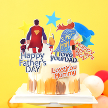 Happy Birthday Super MOM & DAD Paper Cake Topper For Mother Father Party Decorations Supplies Papa Dessert Decoration