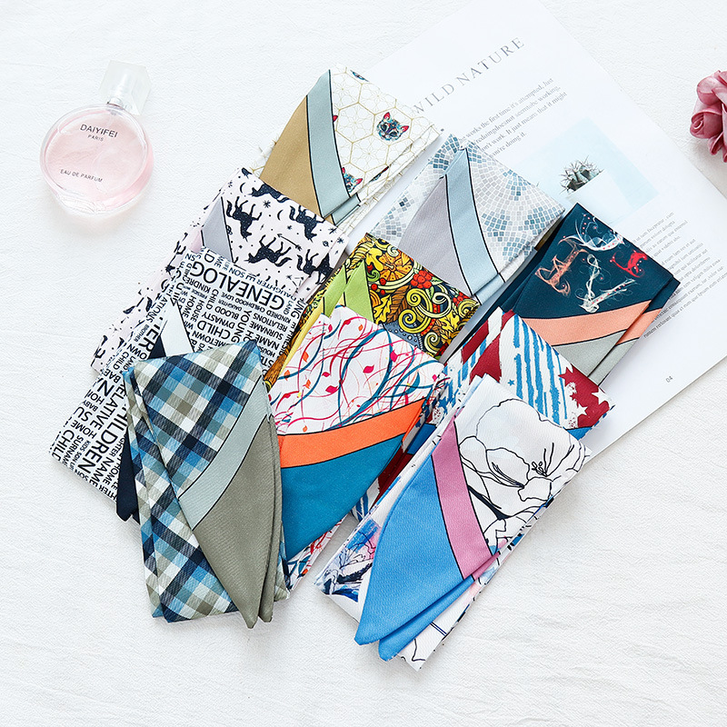 New Arrived Multi-function Printing Small Skinny Scarf Tied Bag Handle Silk Scarf Ribbon Ladies Decorative Headband Small