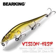 Bearking 9.8cm 10g sp mergulho 2.1m profissional minnow wobbler iscas de pesca qualidade jerkbaits isca artificial predador tackles