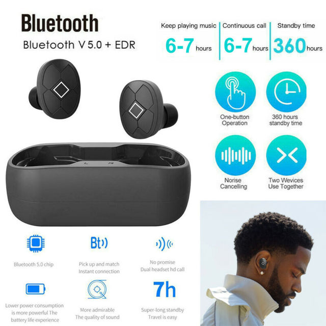 Bluetooth V5 Headset TWS Wireless Earphones Mini Earbuds Stereo HiFi Music Sport Headsets Waterproof Black