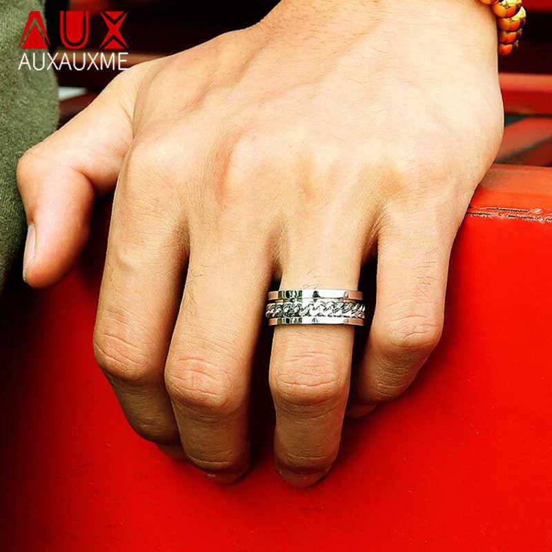 Auxme anillo de cadena giratoria con números romanos para hombre textura de neumático de acero titanio enlaces giratorios Punk masculino Anel Alliance