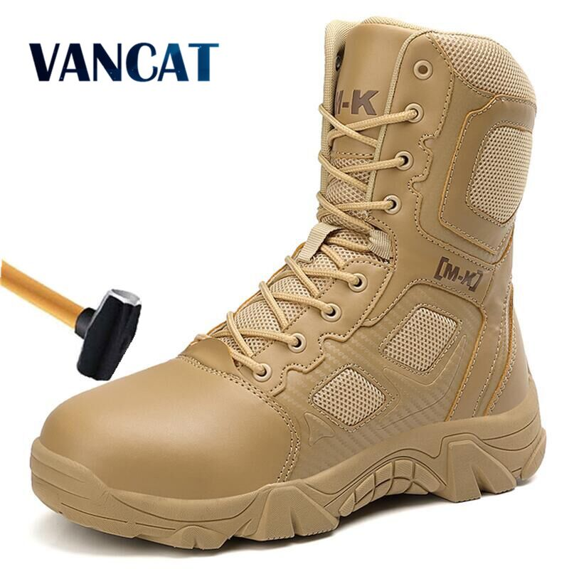 New Work Security Steel Toe Men's Boots Anti-smashing Combat Ankle Boot Military Tactical Desert Boot Army Work Men's Shoes 47