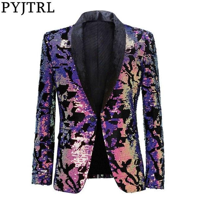 PYJTRL Fashion Purple Colorful Velvet Sequins Blazer Masculino Slim Fit Men Suit Jacket Stage Singer Costume Shiny Blazers