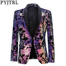 Pyjtrl ファッション紫色のカラフルなベルベットスパンコールブレザー masculino スリムフィット男性のスーツのジャケットステージ歌手の衣装光沢のあるブレザー
