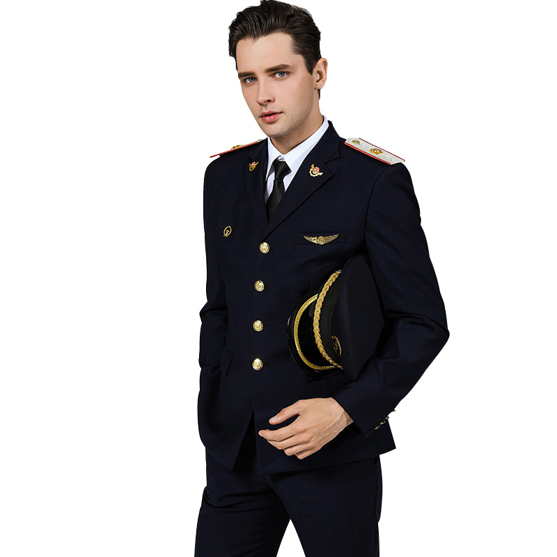 Men Railway School Uniform Set Captain Security Uniform Suit Male Business Casual Workwear Slim Fit Streetwear Costume