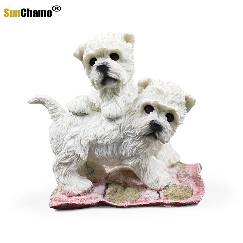 Fashion Simulation Model West Highland Dogs Figurines Miniatures Home Decoration Crafts New Murals Furnishing Accessories Crafts
