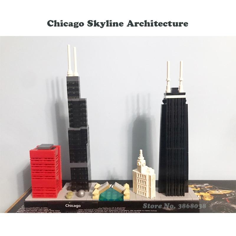 Bela 10677 Architecture Building Sets Chicago 21033 Willis Tower Model Building Block Bricks Toys