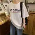 Sesión de fotos 2019 verano nuevo estilo impreso carta suelta adelgazante versátil manga corta Camiseta de mujer de longitud media 100% de algodón