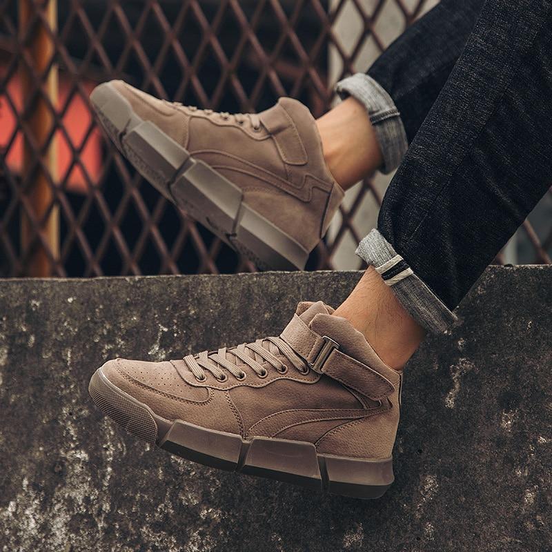 Zapatillas de cuero de invierno para hombre, botas de nieve a prueba de agua de corte medio, zapatos casuales Retro para hombre para los hombres Nueva Experiencia alta para ayudar a los zapatos deportivos tejidos para hombres, zapatos informales para hombres, zapatos ligeros y cómodos para hombres