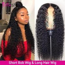 Tinashe bouclés dentelle avant perruques de cheveux humains 180 densité Bob dentelle avant perruques pour les femmes noires 4x4 fermeture perruque brésilienne bouclés Bob perruque