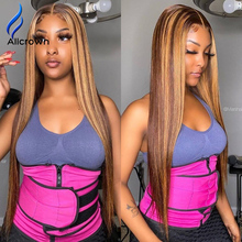 ALICROWN Highlight Ombre T-part Straight Lace Front Human Hair Wigs Bleached Knots Brazilian Non-remy Lace Wigs Pre-Plucked