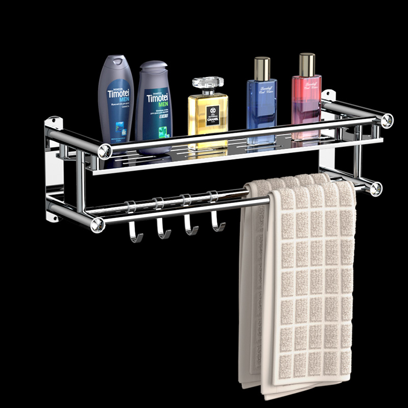 Towel Holder No Punching Bathroom Towel Rack Stainless Steel Towel Hangers For Bathroom With 4 Hooks