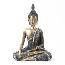 Vintage Diamante Buddha Statue India Sculpture Hindu Fengshui Figurine Meditation Miniature Home Decoration Accessories