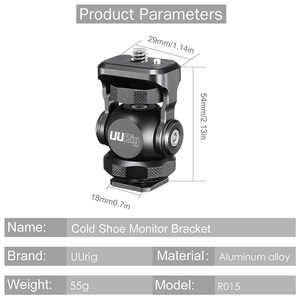 Image 2 - UURig R015 Cold Shoe Monitor Bracket Aluminum 360 Degree Adjustable Mount Bracket for Monitor DSLR Cameras