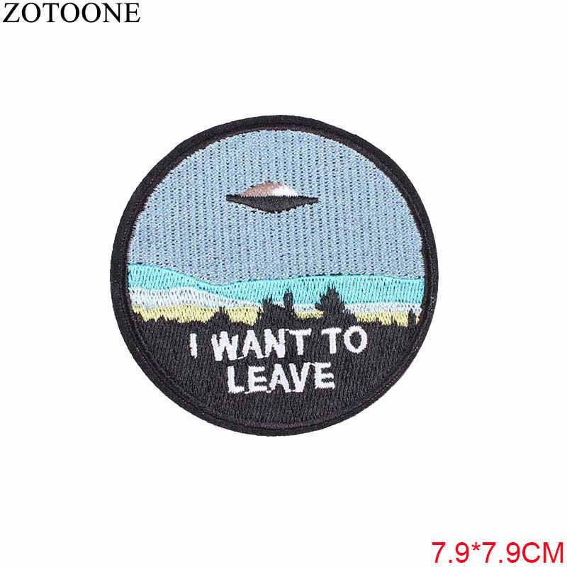 ZOTOONE UFO Raum Schädel Tiger Patch Eisen auf Nähen Auf Applique Abzeichen Motorrad Günstige Biker Bestickt Patches Für Kleidung Aufkleber